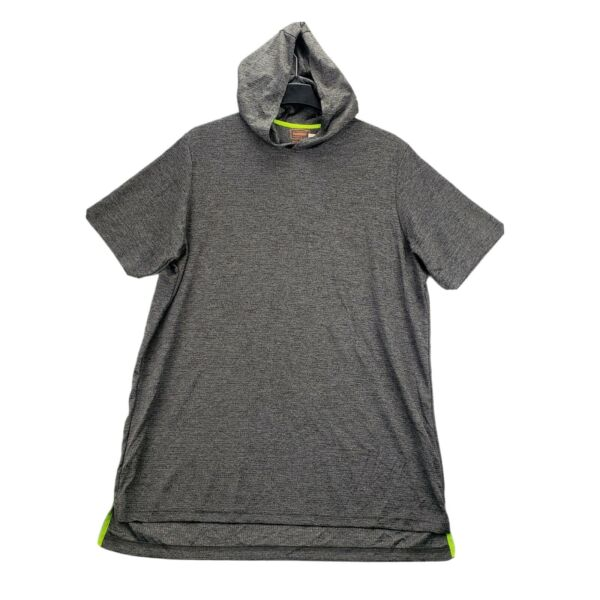 NEW Foundry Big amp; Tall 3XLT Mens Active Shirt Hoodie Gray Stretch Short Sleeve