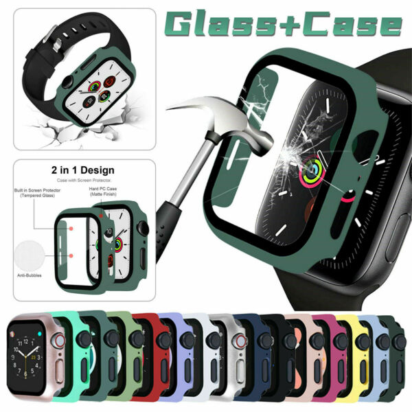 For Apple Watch Series 6 5 4 SE40 44mm Full Screen Protector Glass Bumper Case $4.89