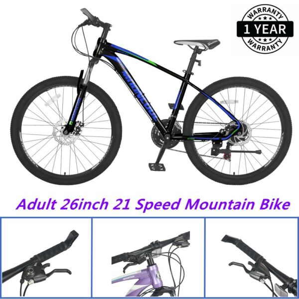 Mountain Bike for Mens Womens Adults 26inch 21 Speeds Disc Brake Road Bicycle $329.90