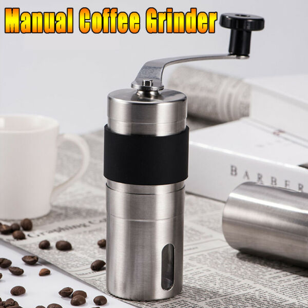 Portable Manual Coffee Grinder Bean Stainless Steel with Ceramic Burr Hand Crank