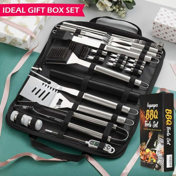 27 PCS BBQ Tools amp; Grill Set Stainless Steel Grilling Accessories Kit With Case