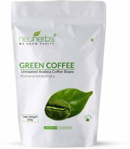 Neuherbs Green Coffee Unroasted Arabica Coffee Beans For Weight Management 200g
