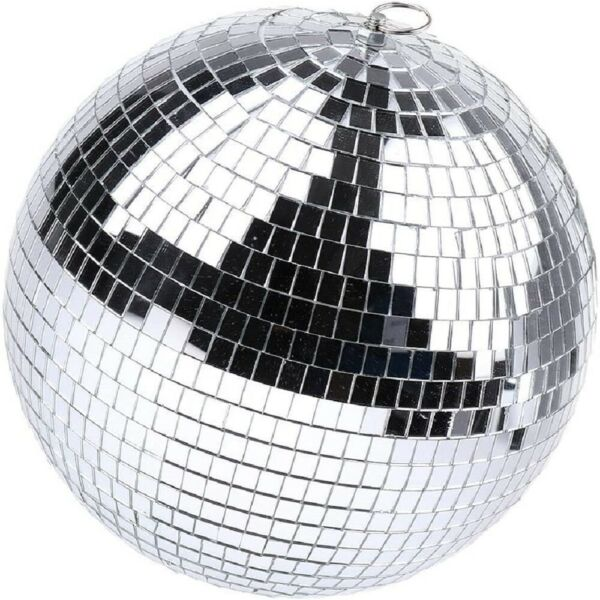 12in Mirror Disco Ball Silver Hanging Reflective Disco Ball Stage Party Decor