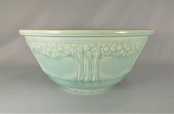 Vintage 1930 HOMER LAUGHLIN 9 1 4quot; Apple Tree Bowl Turquoise BEAUTY