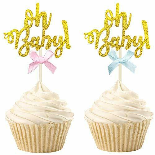 30 PCS Gold Glitter Oh Baby Cupcake Toppers Gender Reveal Cake Topper Picks w...