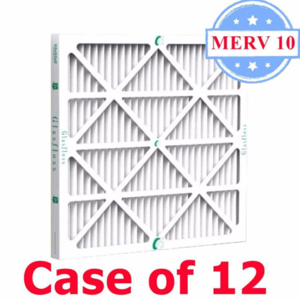 16x20x1 Air Filter MERV 10 Pleated by Glasfloss Box of 12 AC Furnace Filters $43.99