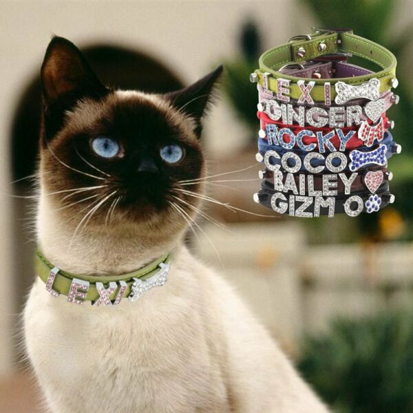 Bling Rhinestone Dog Cat Leather Collar Small Puppy Kitten Can#x27;t carve $6.19