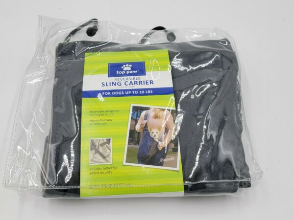 Top Paw Reversible Dog Sling Carrier Dogs Up to 10 Pounds Gray New $22.99