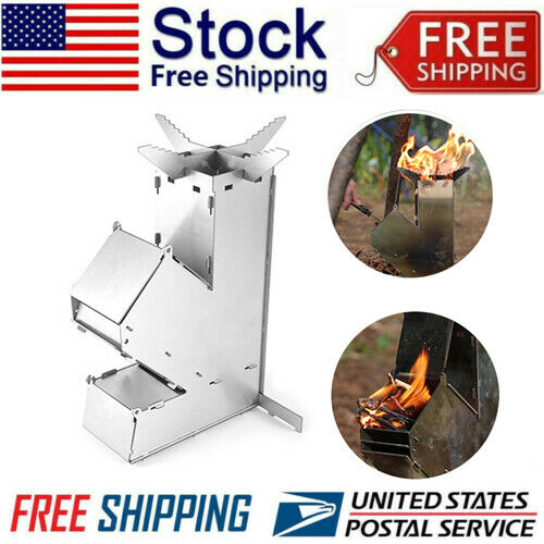 Stainless Steel Rocket Stove Collapsible Outdoor Wood Burning Stove S Size USA $24.79