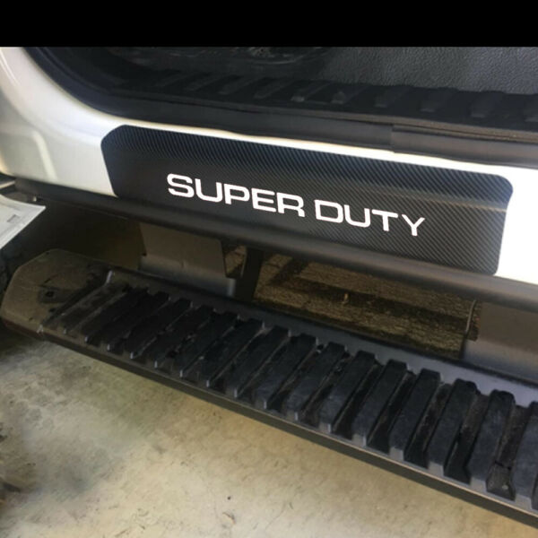 Carbon Fiber Leather Car Door Sill Cover Protector for Ford Super Duty 4 Pcs $19.90