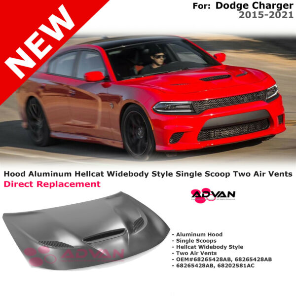 Aluminum Hood Hellcat Widebody Style With Scoop For Dodge Charger 2015 2021