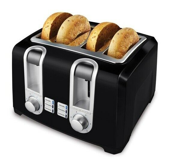 4 Slice Black Toaster Extra Wide Extra Lift Bagel Toaster Black FREE SHIPPING