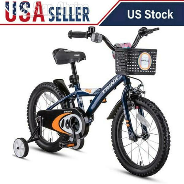 Kids Bike For Boy Girls Bicycle With Training Wheels 16 Inch 2 4 Years Blue US $88.99