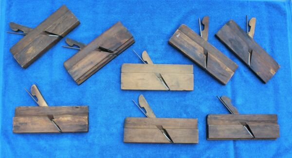 8 ANTIQUE WOODEN CABINETMAKERS MOLDING PLANES ALL WITH IRONS VARIOUS MAKERS