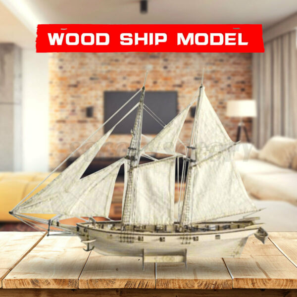 Scale 1:100 Wooden Wood Sailboat Ship Kits Boat Gift Home Decor Gift Hobby US