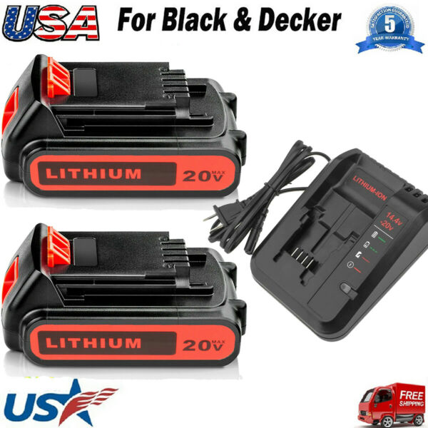 3.0Ah For Black and Decker 20 Volt MAX Lithium Battery LBXR20 LB20 Fast Charger
