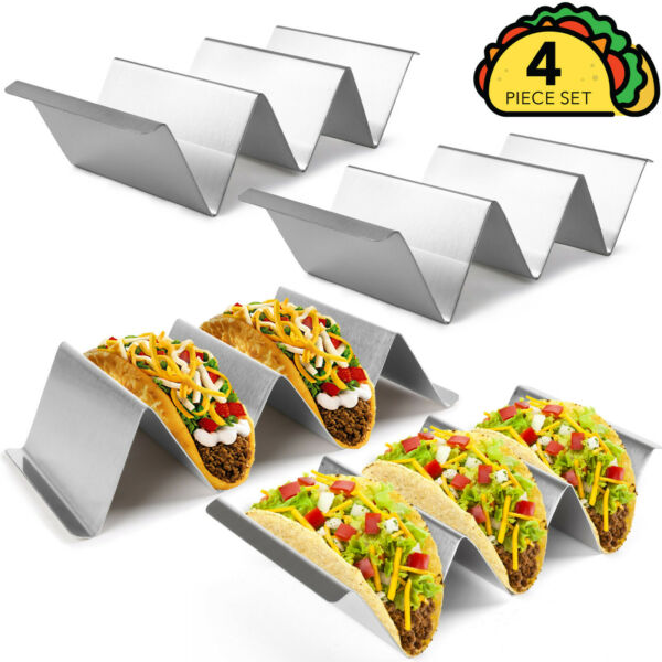 4 Pack Taco Holder w handles Stainless Steel Food truck style Rack $15.19
