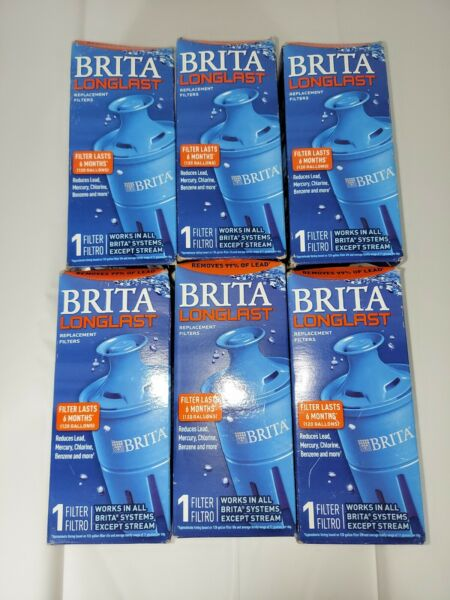 6x BRITA LONGLAST WATER FILTER REPLACEMENT LASTS 6 MONTHS NEW IN BOX SEALED BAG
