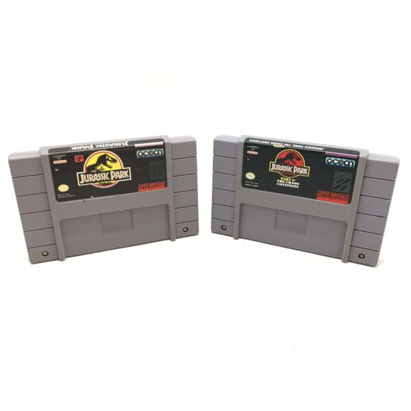 Jurassic Park 1 amp; Part 2: The Chaos Continues SNES 1993 1995 CARTS ONLY $39.95