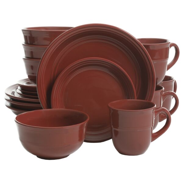 Dinnerware 16 Piece Set Red Dishes Plate Bowl Mug Stoneware Dinner Service For 4 $52.99