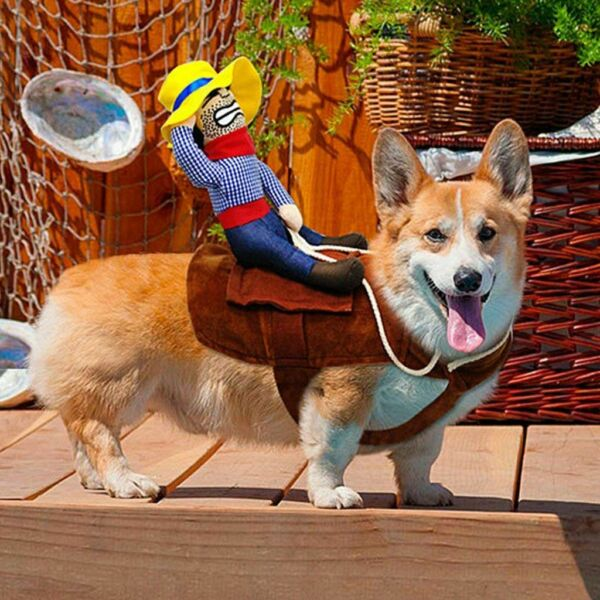 Funny Halloween Riding Horse Cowboy Pet Dog Costumes Puppy Party Costume Clothes $11.11
