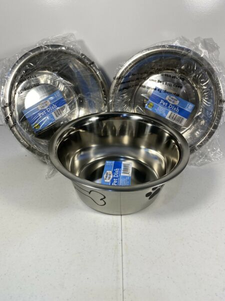 LOT OF 3 STAINLESS STEEL DOG DISHES1 Quart New with sticker Forever Pals $18.50