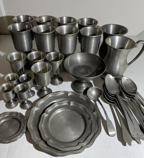 Large Set of Colonial Casting Co. Pewter Cups Shot glasses Plates Spoons $200.00