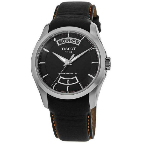 New Tissot Couturier Automatic Black Day Date Men#x27;s Watch T035.407.16.051.03