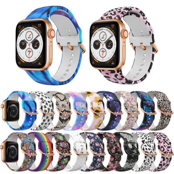 For Apple Watch SE 6 5 4 3 2 1 Silicone Print Band Sports Strap 38 42mm 40 44mm $9.79