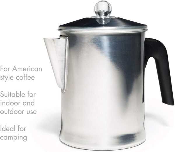 Heavy Duty Stove Top Percolator Coffee Pot Maker Stainless Steel 9 Cup