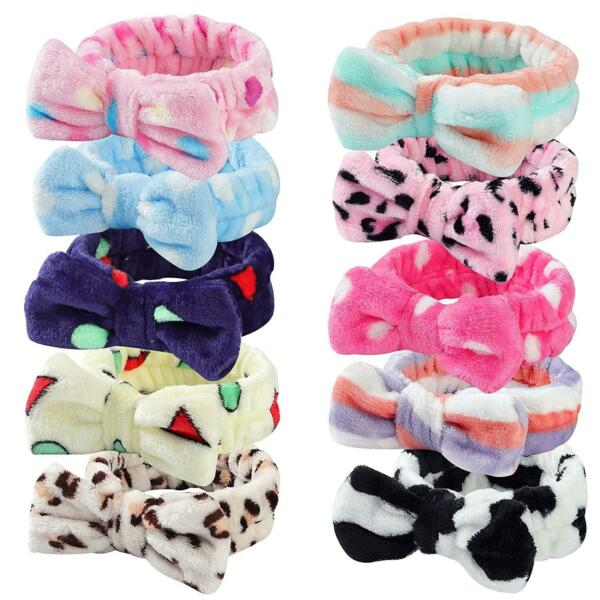 10 Pieces Bow Headbands Shower Spa Soft Durable for Women Washing Face Hair Band $9.45