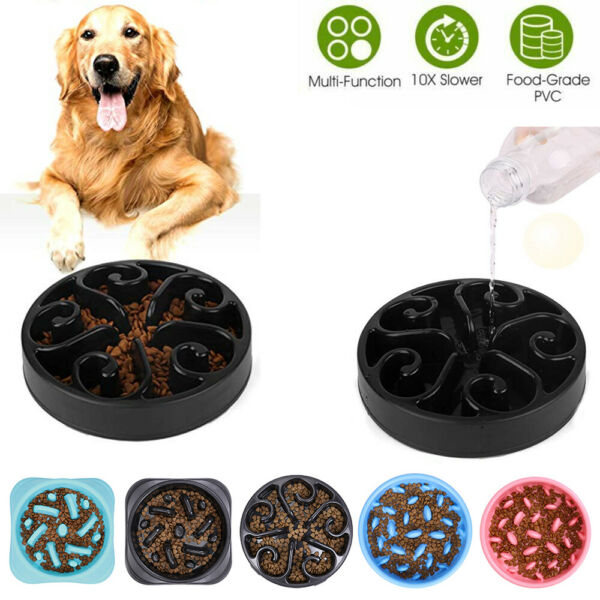Slow Feeding Bowl For Dogs Help Prevent Choking Slow Down Healthy Dog Dishes Hot $9.99