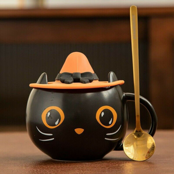 2021 Starbucks Black Cat Cup With Witch Cap Lidamp;Spoon Water Mug Halloween Gifts
