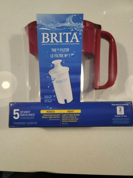 Brita 5 Cup BPA Free Water Filter Pitcher Red New