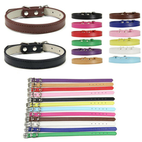 Cat Dog Leather Collar Puppy Collar Small Dog Collar Adjustable Buckle Solid New $2.22