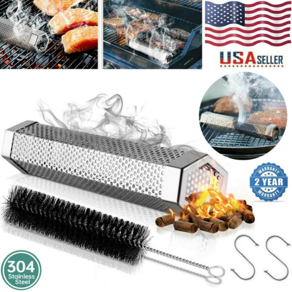 12quot;Grill Smoker Filter Tube BBQ Stainless Steel Outdoor Wood Pellet Pipe Smoke
