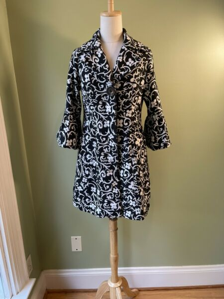 Anthro Luii Womens Size Small Coat Black White Floral Abstract Burlap Weave