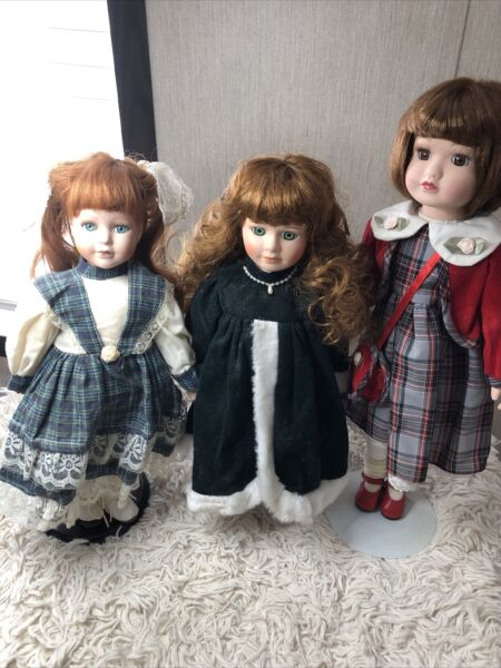 Porcelain dolls Lot of 3 15 inches