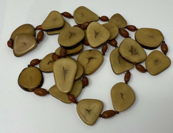 Sliced Tagua Nut Necklace Brown Handmade Statement Boho Beaded 36quot;