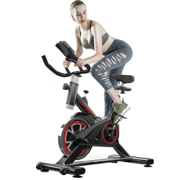Indoor Exercise Bike Indoor Cycling Stationary Bike Belt Drive with LCD Monitor $189.00