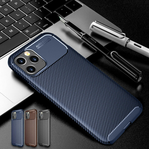 Carbon Fiber Slim Silicone Case Cover For iPhone 13 12 Pro Max 11 XS XR 8 7 6 SE $7.39