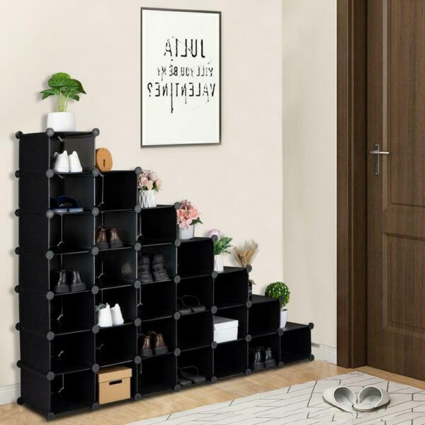 7 Tier Shoe Rack 28 Pairs Plastic Units Cabinet Storage Organizer for Entryway