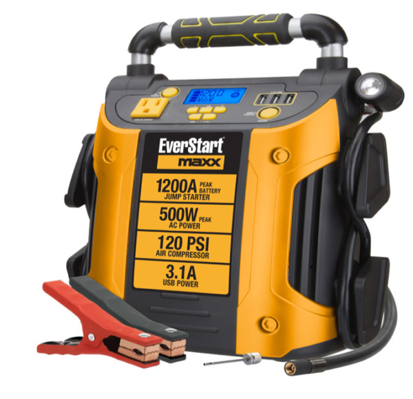 Auto Battery Jump Starter Air Compressor 1200 Peak Amps Portable Car Suv Charger $127.71
