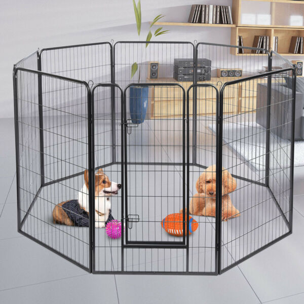 """64"""" X 64"""" 8 Panels Tall Dog Playpen Large Crate Fence Pet Play Pen Exercise Cage"""