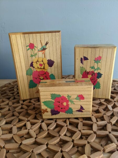 Set Of 3 Wooden Boxes Stacking Nesting Wood Inlay Decorated Light In Color