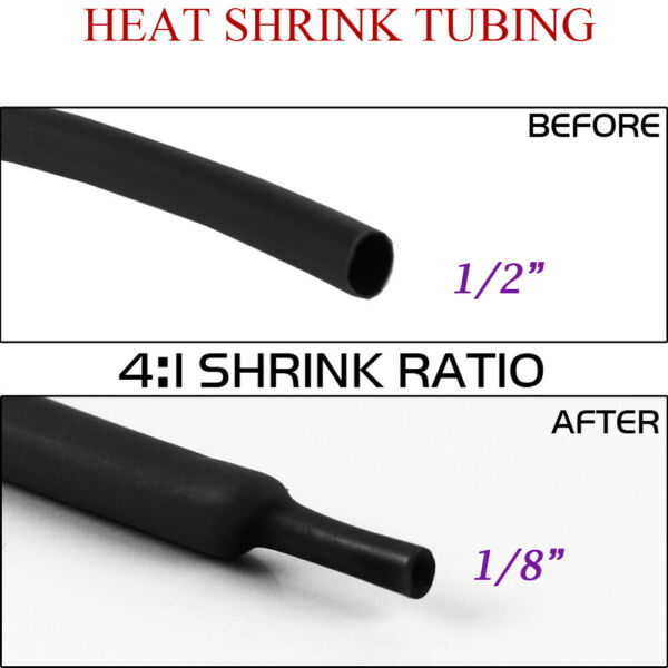 1 2quot; Heat Shrink Wrap Tubing 4:1 Dual Wall Shrinkable Sleeve Glue Lined 144inch $14.24