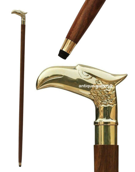 Antique Brass Eagle Handle Walking Stick Beautiful Cane Imperial Style Replica