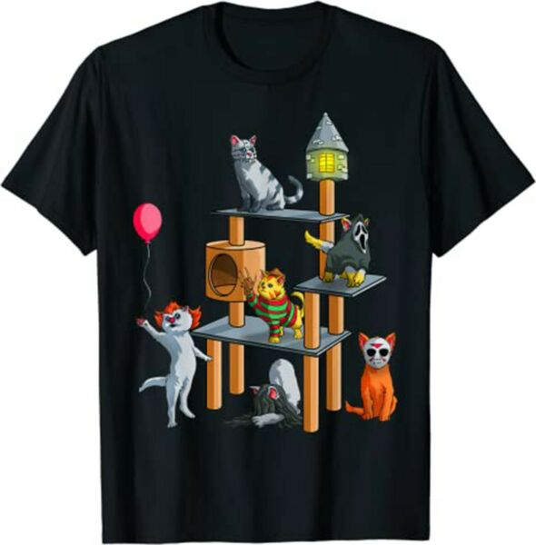 Funny Cat Horror Movies Cute Halloween for Cat Kitty Lovers T Shirt $15.95