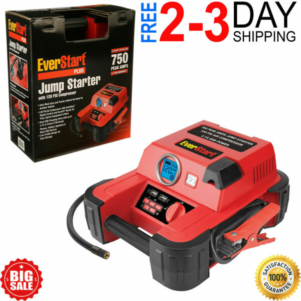 Auto Battery Jump Starter Air Compressor 750 Peak Amps Portable Car SUV Charger $42.00