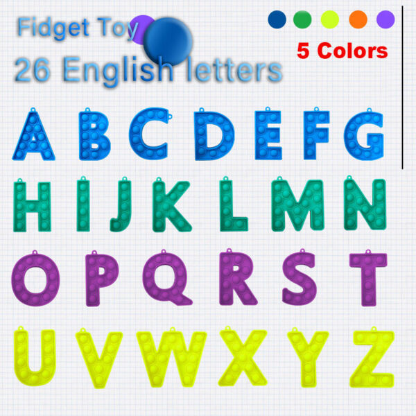 26Letters English Alphabet Bubble Fidget Toys ADHD Stress Relief Game Popit Gift